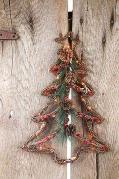Grapevine Twig Wall Lighted Christmas Tree with Berrie...