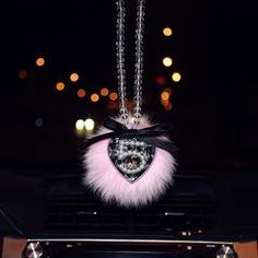MINI-FACTORY Car Interior Hanging Ornament Fairy Crystal Diamond Fairy//Unicorn//Luxury Pearl Star Rearview Mirror Hanging Bling Charm Girly Decoration for Car//Home//Office