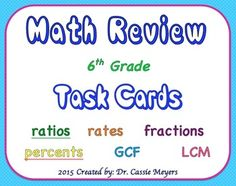 This engaging set of 24 task cards includes 6th grade math skills involving rates, ratios, fractions, percents, and finding greatest common factors and least common multiples. Instructions: Cut each card apart. Glue onto card stock and laminate.Students must look at a card, read the sentence or look at image, then discuss possibilities of causes and effects.