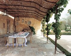 Split reed and grapevine arbor--in Provence!