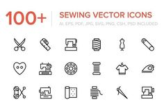 100+ Sewing and Stitching Icons by Vectors Market on @creativemarket
