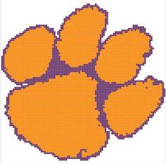 "Cross Stitch Pattern- ""Clemson Tigers"" Paw Print Immediate Download"