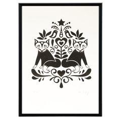 Scandinavian Folk Art Fox - limited edition hand-pulled screenprint.