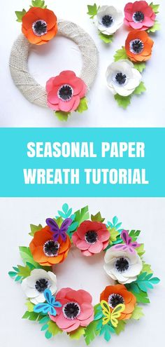 This paper flower wreath is easy to make and can be customized with many different kinds of paper flowers in colors for any season! #papercraft #paperflower #wreaths #tutorial