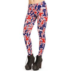 Red/Blue British Flag Leggings ($20) ❤ liked on Polyvore
