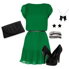 green dress, created by lisa-trent on Polyvore