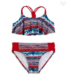 This pretty print flounce bikini is a must pack for your travel bag.