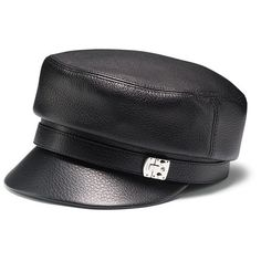 Gucci Black Leather Driver Cap found on Polyvore