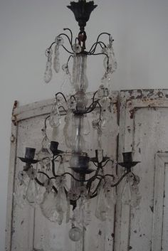Vintage or a great replica Rustic White, Crystal Chandelier, French Shabby Chic, Light Fittings, Sparkling Lights, Light Of My Life, French Chandelier, Lights, Lanterns