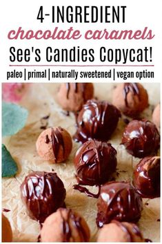Paleo Chocolate Caramels See's Candies Copycat! - Did you grow up with See's Candies? These Paleo Chocolate Caramels are naturally sweetened, made with real food ingredients and are absolutely delectable. Paleo Sweets, Paleo Dessert, Healthy Dessert Recipes, Gluten Free Desserts, Vegan Desserts, Real Food Recipes, Yummy Food, Paleo Recipes, Candy Recipes
