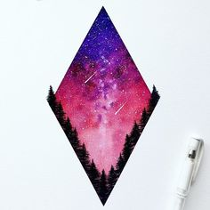 Here is the finished Diamond Red Sky painting from my latest process video. Thank you so much for everyone who viewed/liked/commented on it, I love being able to interact with everyone and hear what you think about my art! For those who were asking, prints are available on my Etsy right now as well as the original painting itself! Make sure you check it out, the link is in my bio ✨ . . . . #painting #space #watercolor #galaxy #stars #nightsky #art_we_inspire #illustration #paint #drawing ...