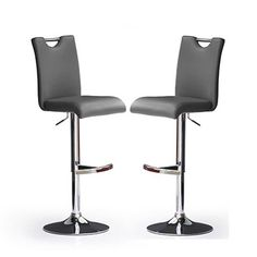 Bardo Bar Stools In Grey Faux Leather in A Pair