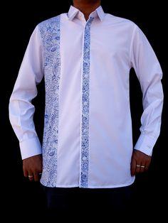 Chemise homme manche longue - Blanc / Bleu : Chemises par leean-collection