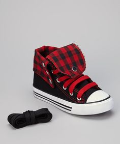 Black & Red Gingham Hi-Top Sneaker toddler boys - so cute!