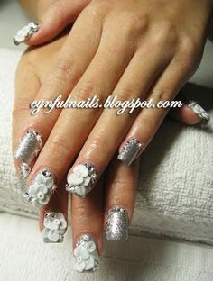 Bridal style - silver w white flowers