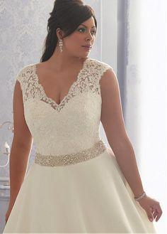 Glamorous tul con cuello en V escote cintura natural del A-line más el vestido de boda del tamaño con apliques de encaje y bordado Listones