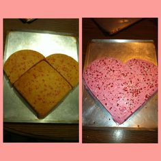 Valentines day cake! Don't waste money on a heart shaped cake pan that you are only going to use once a year just use a square and round cake pan and cut the round cake in half and combine! A perfect heart and reusable pans :)