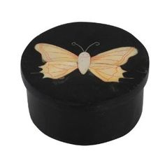 Black Stone Box with Lid Butterfly Decorations Handmade by Artisan, Set of 2
