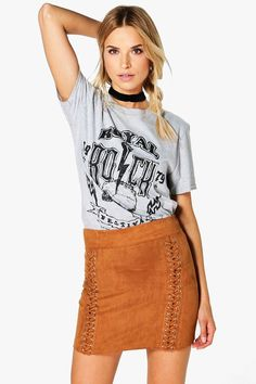 Priya Lace Up Suedette Mini Skirt