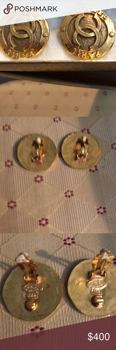 Channel earrings Clip vintage earrings Gold never used CHANEL Accessories