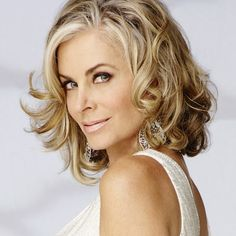 Eileen Davidson (Ashley Abbott, The Young and the Restless) Reel Synopsis: Ashley blasts Jack as being less like John Abbott than her. Ashley and Jack grapple with how to handle Dina's Alzheimer's diagnosis. Ashley confronts Graham and labels him a con ma Jennifer Lawrence Makeup, Medium Hair Styles, Curly Hair Styles, Eileen Davidson, Beauty Makeup, Hair Beauty, Mother Of The Bride Hair, Bold And The Beautiful, Beautiful People