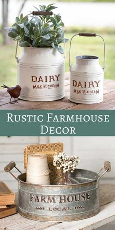 Shabby chic milk cans and galvanized metal bucket / tray would make a cute rustic planter or kitchen storage for the farmhouse look. Rustic Farmhouse Home Decor | Shabby Chic Decor | Fixer Upper Style | Farmhouse70 on Etsy #farmhousestyle #shabbychic #rustic #ad #homedecor #shabbychickitchendecor