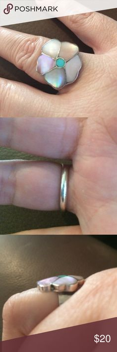 🎉Host Pick🎉Sterling silver pink MOP ring This ring is unmarked but it is sterling silver. It contains pink mother of pearl and turquoise inlay. Size 8. Jewelry Rings