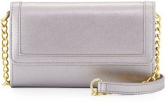 Neiman Marcus Leather Phone Case Crossbody Bag, Pewter