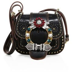 Miu Miu Dahlia Small Studded Leather Saddle Bag (65.300 ARS) ❤ liked on Polyvore featuring bags, handbags, shoulder bags, miu miu, apparel & accessories, black, leather shoulder handbags, real leather shoulder bags, leather saddle bags and real leather handbags