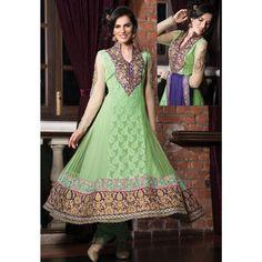 Glorious Green Georgette #Anarkali #Churidar Kameez #SalwarKameez #Fashion #Clothing #Dress