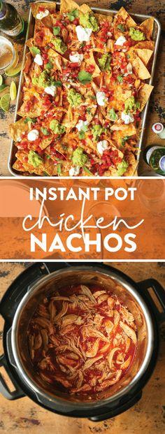 Instant Pot Chicken Nachos - Damn Delicious Best Party Appetizers, Appetizer Recipes, Damn Delicious Recipes, Simple Recipes, Delicious Food, Chicken Nachos, Instant Pot Dinner Recipes, Food Print, Chicken Recipes