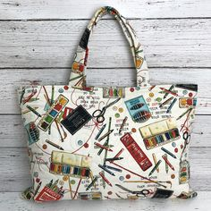 Quilted Artsy Tote bag, made by Aunt Henri.