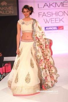 white anushree reddy lehenga choli. Lakme Fashion Week www.gujaratidresses.com