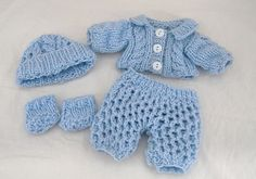 Hand knit boy baby doll clothes 8 inch Berenguer