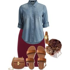 A fashion look from August 2017 featuring blue top, purple skirt and cognac shoes. Browse and shop related looks. Modest Wear, Modest Outfits, Skirt Outfits, Casual Outfits, Cute Outfits, Apostolic Fashion, Modest Fashion, Fashion Outfits, Apostolic Clothing