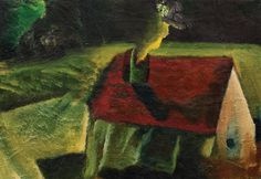 Mircea Milcovitch - Red Roof (Acoperiș Roșu) in The Lavacow Anniversary Auction Red Roof, Auction, Anniversary, Painting, Image, Art, Art Background, Painting Art, Paintings