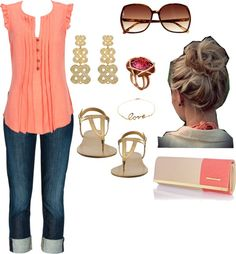 """""""Coral and Gold"""" by fashion-faux-pas on Polyvore"""