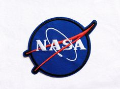1x NASA patch blue custom Iron On Embroidered Applique Space
