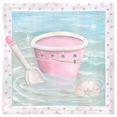 Beach Day Pail Canvas Artwork In Pink : Popular Artwork For Girls at PoshTots