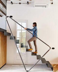 Contemporary metal staircase.