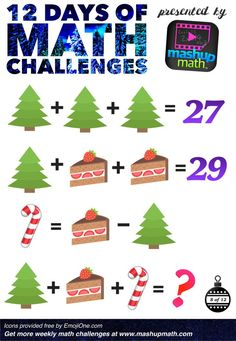 Are You Ready for 12 Days of Holiday Math Challenges? — Mashup Math Math Games For Kids, Fun Math, Math Activities, Class Games, Christmas Math, Christmas Activities, Xmas, Math Challenge, Daily Math