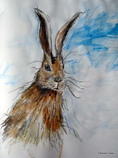Hare watercolour skectch Hare, Rabbits, Watercolour, Wildlife, Pastel, Artwork, Painting, Pen And Wash, Watercolor Painting