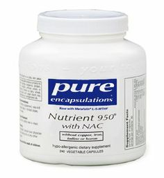 Pure Encapsulations Nutrient 950 with NAC - 120 capsules by Pure Encapsulations. $37.90. mineral formula; multi-vitamin; NAC; Pure Encapsulations -Nutrient 950 with NAC 120 vcaps; Nutrient 950 provides optimal nutritional support for all body systems. What Is It? Nutrient 950? is a complete hypo-allergenic, nutrient rich, highly bioavailable multi-vitamin, multi-mineral and trace element supplement. It contains superior mineral cofactors and activated vitamins,...