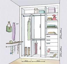 Resultado de imagem para medidas de armários closet camisa vestido