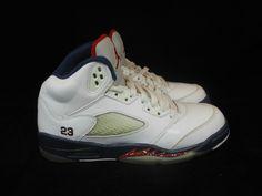 Vtg OG 2011 Nike Air Jordan V 5 s sz 4.5y IV Olympic Retro White Navy Red Fire #Jordan #Athletic #tcpkickz Jordan V, Youth Shoes, 5 S, Olympics, Air Jordans, Nike Air, Sneakers Nike, Fire, Athletic