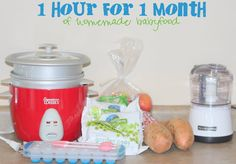 1 Hour for 1 Month of Homemade Babyfood! I might have to try this with E! Love the idea of saving $$ for better food