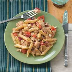 Greek Chicken Penne - Quick and under 500 calories per serving!