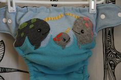 Reserved for Cassandra... Narwhal wool diaper cover by PeanutPants