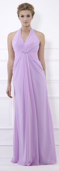 Halter Neck Beaded Lilac Bridesmaid Dress 2013