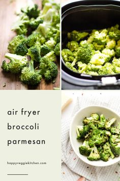 Crispy garlicky cheesy broccoli at lightning speed air fryer broccoli is a revelation! You will be amazed at how well your air fryer cooks vegetables. This broccoli is the perfect place to start. Parmesan Broccoli, Raw Broccoli, Vegetarian Side Dishes, Healthy Side Dishes, Side Dishes Easy, Vegetable Side Dishes, Side Dish Recipes, Vegetable Recipes